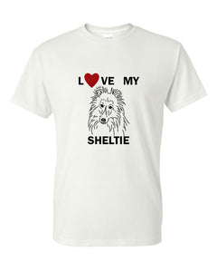 Love My Sheltie t-shirt crew neck white