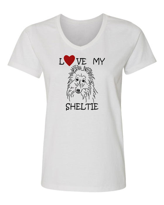 Love My Sheltie t-shirt v neck white