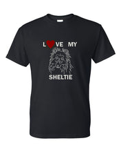 Load image into Gallery viewer, Love My Sheltie t-shirt crew neck black