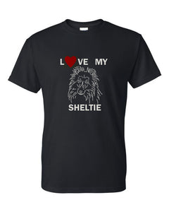 Love My Sheltie t-shirt crew neck black
