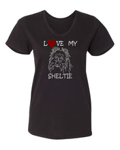 Load image into Gallery viewer, Love My Sheltie t-shirt v neck black