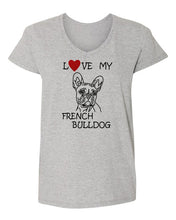 Load image into Gallery viewer, Love My French Bulldog t-shirt v neck grey
