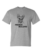 Load image into Gallery viewer, French Bulldog t-shirt crew neck grey