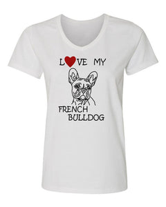 Love My French Bulldog t-shirt v neck white