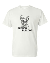 Load image into Gallery viewer, French Bulldog t-shirt crew neck white