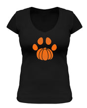 Load image into Gallery viewer, Pumpkin Paw Print V Neck T-Shirt Black