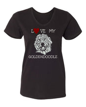 Load image into Gallery viewer, Love My Goldendoodle t-shirt v neck black