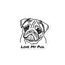Load image into Gallery viewer, Love My Pug Bubble-free stickers