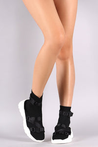 Buckled Strap Knit Sneaker Sock Ankle Boots