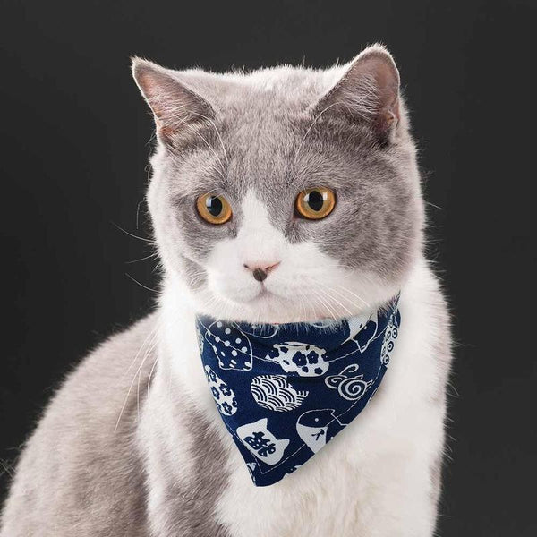 Adjustable Cat Bandana with Quick Release Clasp-Cat Bandanas, Bows & Hats-Blue-S-26651763-blue-s-Paws and Whiskers
