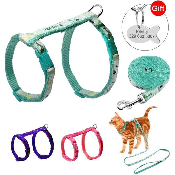 Adjustable Printed Cat Harness and Leash with Free ID Tag-Cat Harnesses-Blue-12480913-blue-chest-23-to-38cm-Paws and Whiskers
