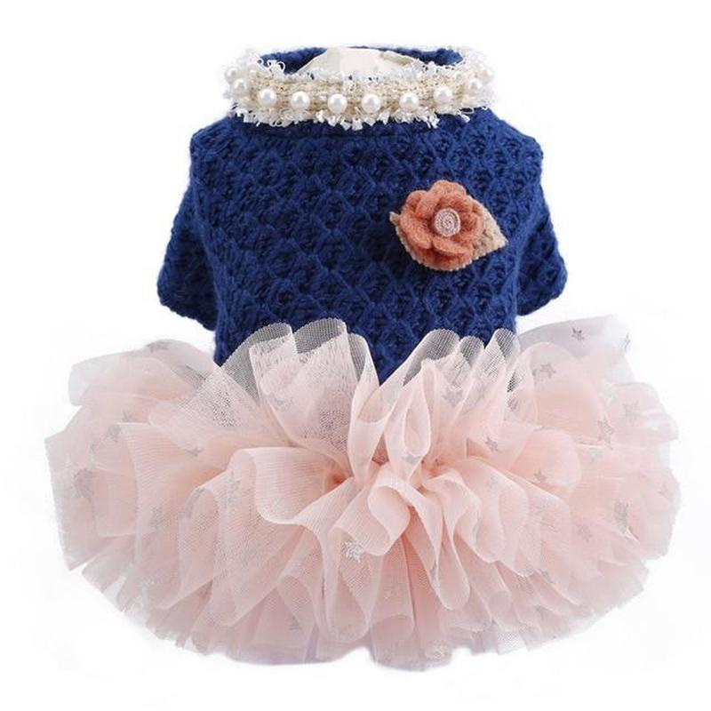 Adorable Dog Dress with a Tutu Skirt-Dog Costumes & Dresses-XS-28497032-navy-blue-xs-Paws and Whiskers