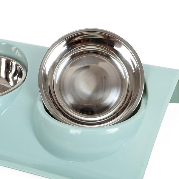 Angled Double Dog Bowl with Anti-Spill Tray-Dog Food & Water Bowls-Blue-18278835-blue-s-Paws and Whiskers