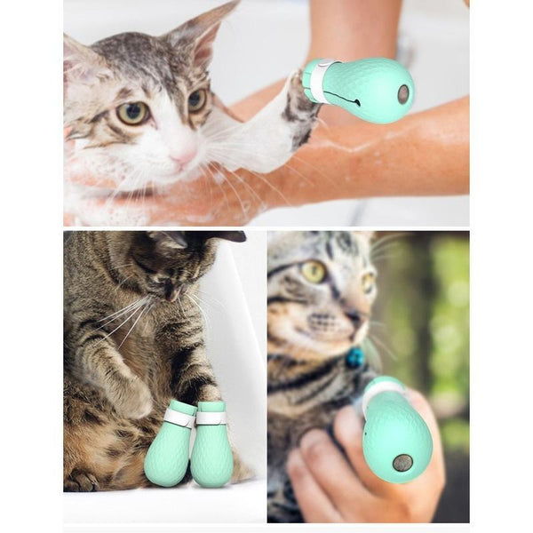 Anti Scratch Silicone Cat Booties for Use at Bath Time-Cat Bath & Shower-27853675-green-china-Paws and Whiskers