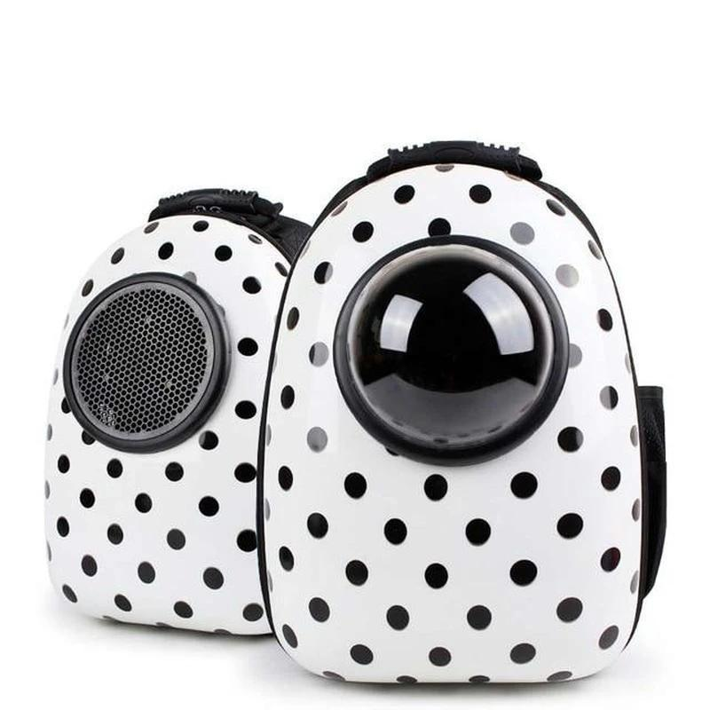 Astronaut Style Cat Backpack With Window-Cat Backpacks-Polka Dots-18063172-a-l-Paws and Whiskers