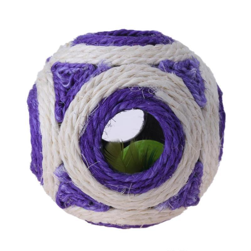 Ball Shaped Natural Sisal Cat Toy With Built-In Bell-Cat Balls & Chasers-17470339-purple-12-cm-Paws and Whiskers
