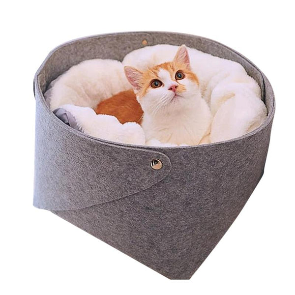 Basket Style Cat Bed & Warm Fluffy Pillow for Cats & Dogs-Cat Beds-S = 28 x 28 x 23 cm-20657605-gray-s-28x28x23cm-Paws and Whiskers