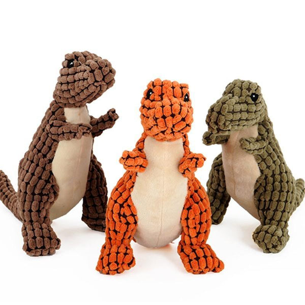 Bite-resistant Dinosaurs Shaped Plush Dog Chew Toy-Dog Plush Toys-Brown-35 cm-6160359-brown-35cm-Paws and Whiskers