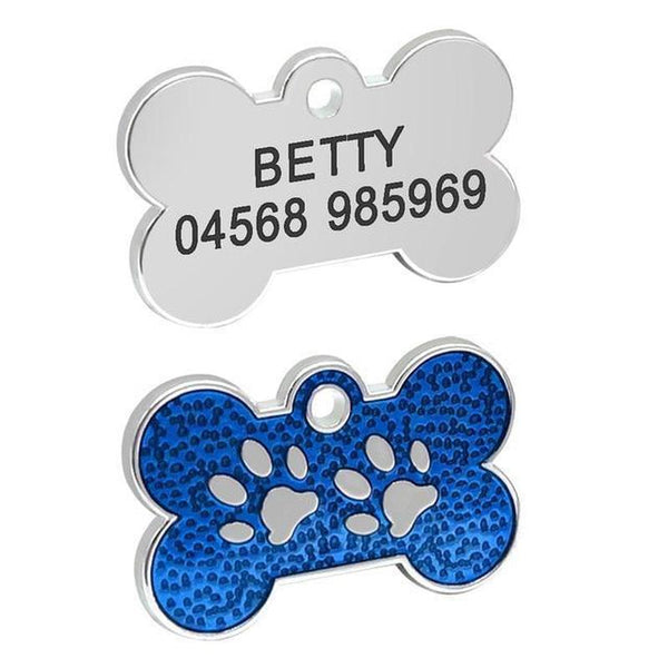 Bone Shaped Dog Tag with Free Engraving-Dog ID Tags-Blue Bone-17895649-blue-bone-s-Paws and Whiskers