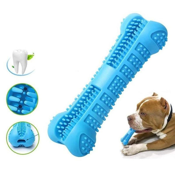 Bone Shaped Dog Tooth Brush with Mint Taste-Dog Dental care-Blue-25994839-blue-14-5cm-x-3-7cm-china-Paws and Whiskers
