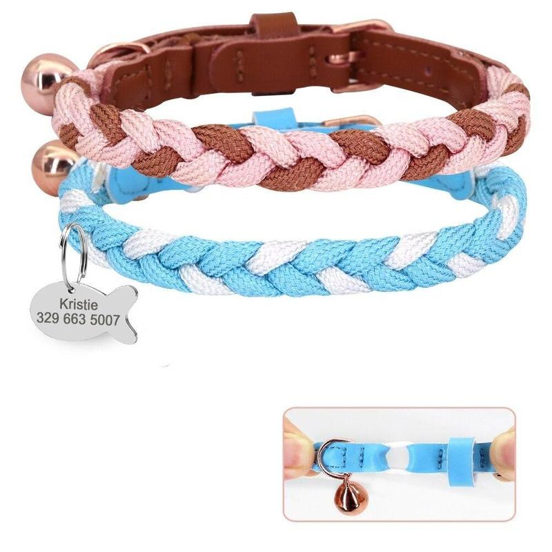 Braided Cat Collar with Bell and Personalized ID Tag-Cat Collars-Blue-S-34219026-blue-xs-Paws and Whiskers