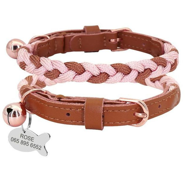 Braided Cat Collar with Bell and Personalized ID Tag-Cat Collars-Brown-S-34219026-brown-xs-Paws and Whiskers