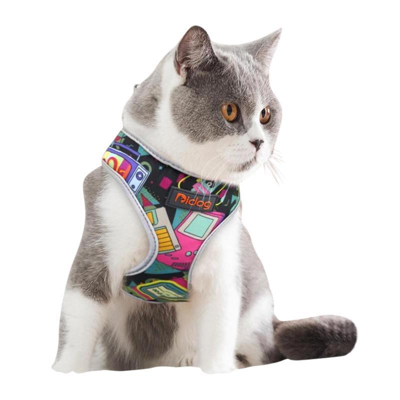 Breathable Cat Harness with Reflective Edge-Cat Harnesses-Flower Print-S-30138280-orange-s-Paws and Whiskers