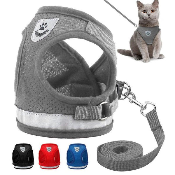 Breathable Soft Padded Cat Harness with Strong Leash Set-Cat Harnesses-Black-S-17053519-black-s-Paws and Whiskers