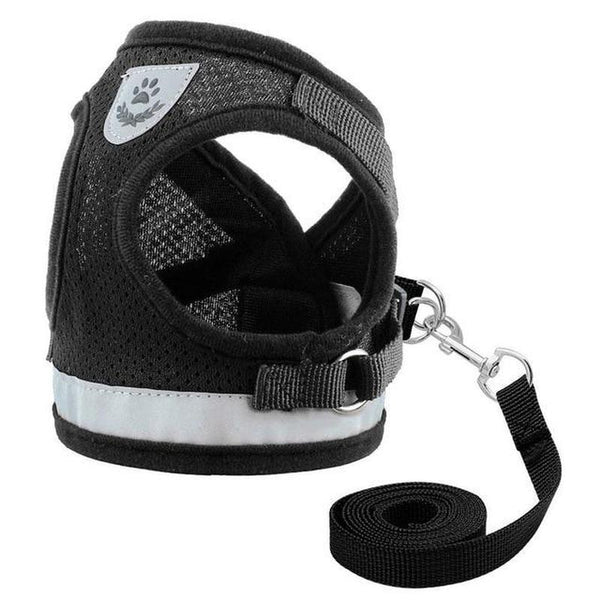 Breathable Soft Padded Cat Harness with Strong Leash Set-Cat Harnesses-Black-L-17053519-black-l-Paws and Whiskers