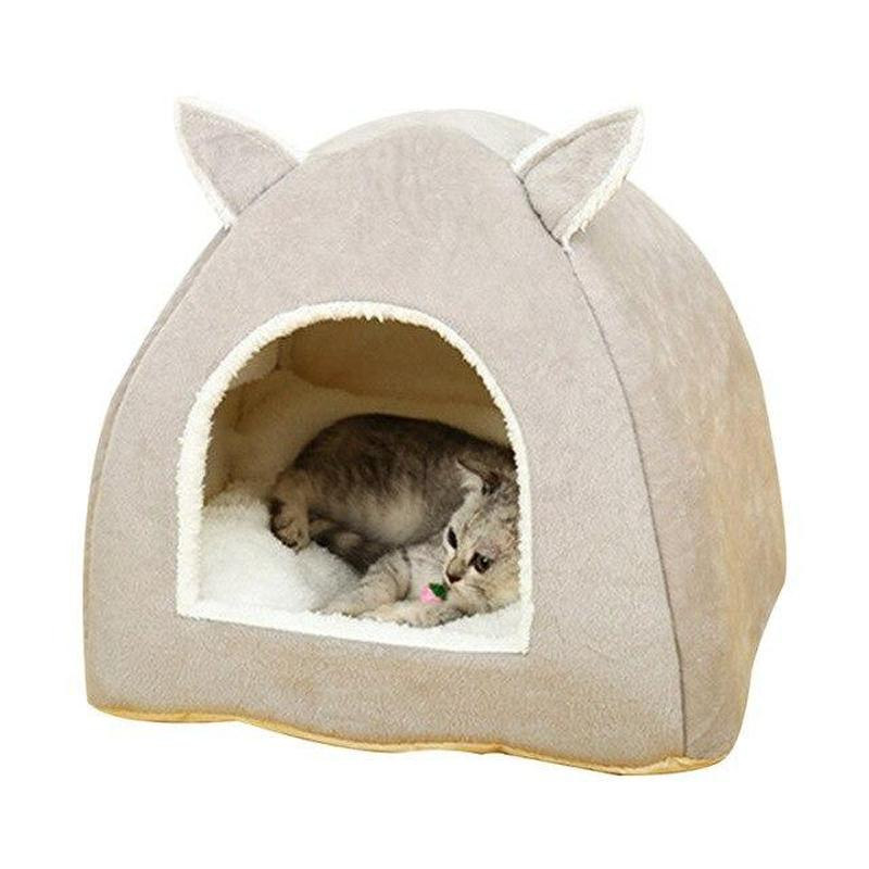 Bunny Ears Cat Bed Available in Various Sizes for Cat & Dog-Cat Houses-Gray-S-30310957-gray-s-Paws and Whiskers