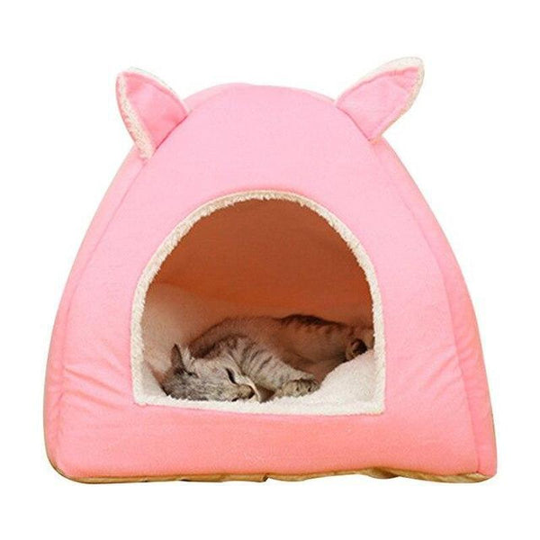 Bunny Ears Cat Bed Available in Various Sizes for Cat & Dog-Cat Houses-Pink-S-30310957-pink-s-Paws and Whiskers