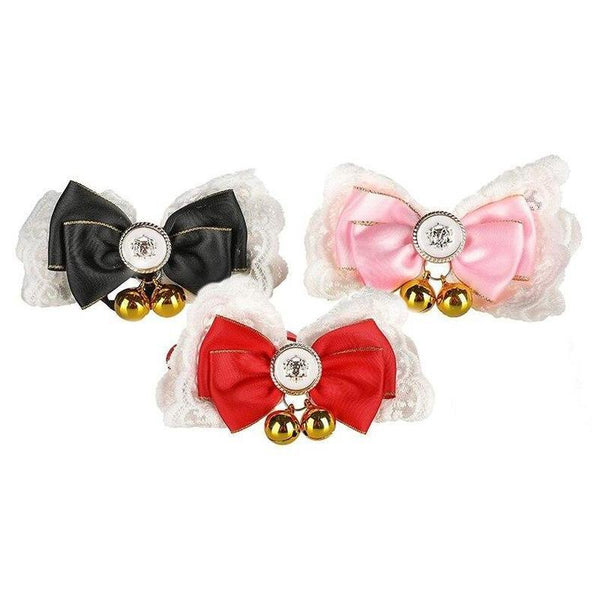 Cat Bow Collar-Cat Bandanas, Bows & Hats-Black-21315993-black-Paws and Whiskers