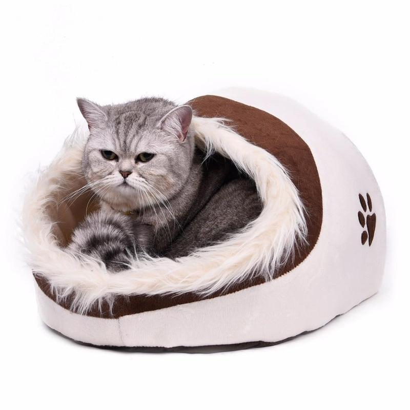 Cat Cave Bed With Soft Cushion-Cat Houses-Beige-1537701-beige-m-china-Paws and Whiskers