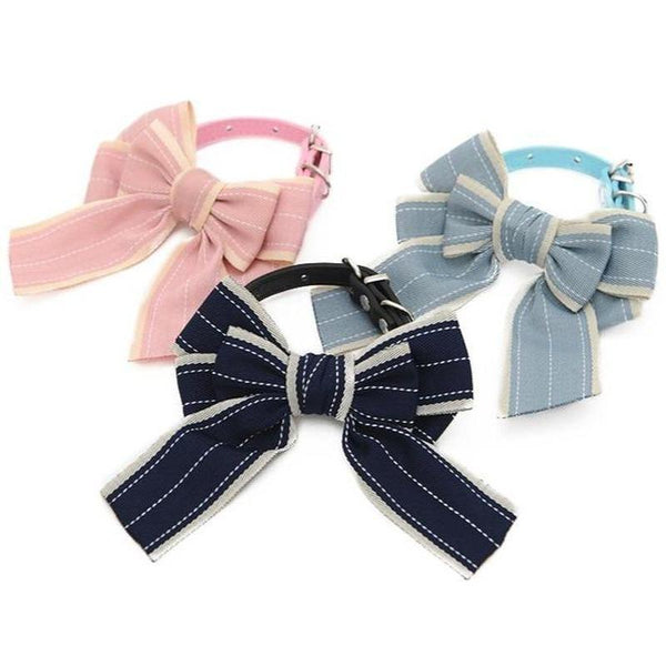 Cat Collar with Large Bow Tie and Adjustable Strap-Cat Bandanas, Bows & Hats-Blue-XS-35184867-blue-xs-Paws and Whiskers