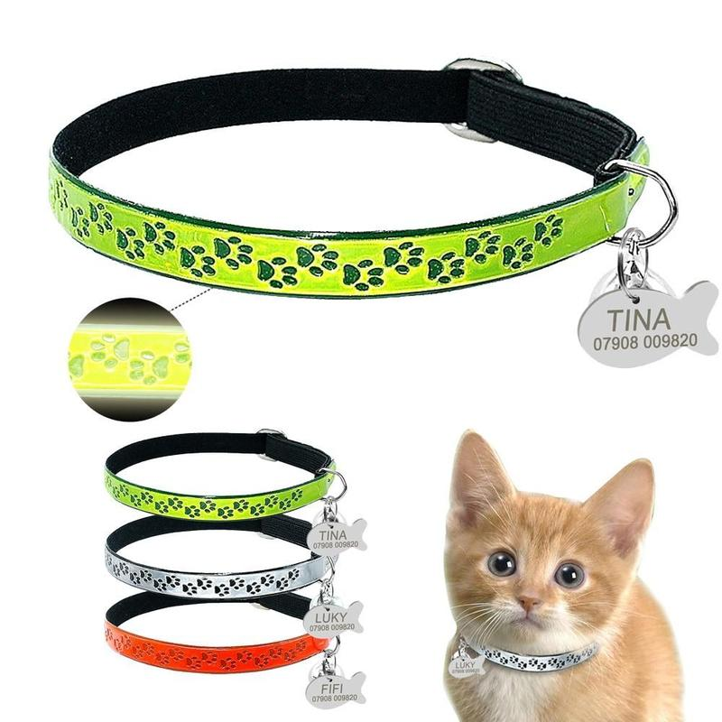 Cat Collar with Personalized ID Tag for Kitten-Cat Collars-Orange-S-17689737-orange-s-Paws and Whiskers