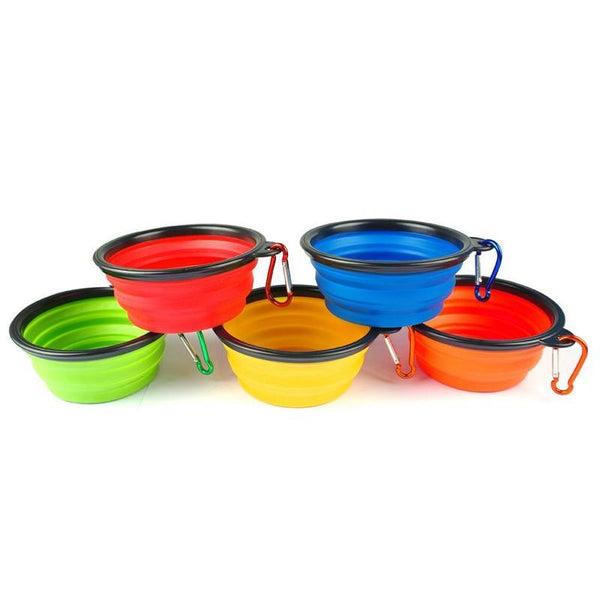 Collapsible Silicone Dog Bowl with Handle-Dog Food & Water Bowls-Blue-409795-blue-free-size-Paws and Whiskers