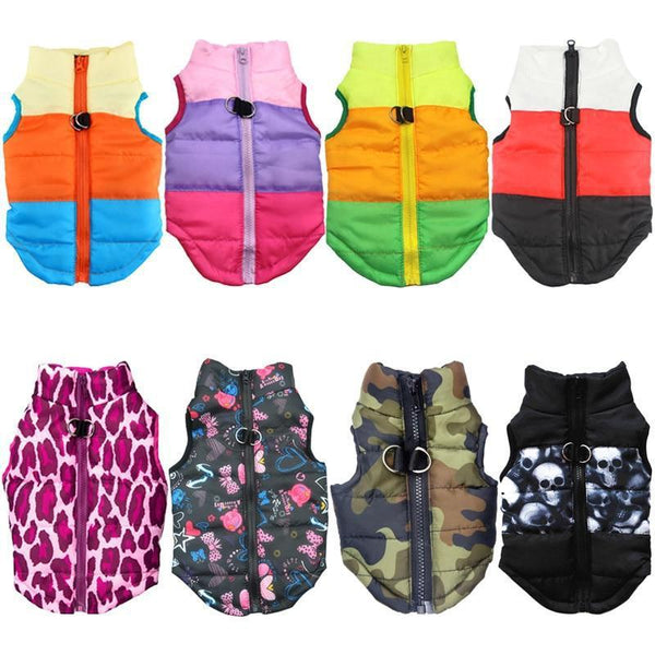 Colorful Waterproof Dog Coat with Special Padded Puffer-Dog Sweaters & Coats-Beige with Pink Rings-XS-5619727-as-picture-show-6-xs-Paws and Whiskers