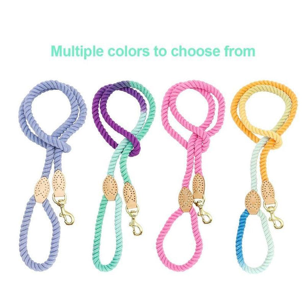 Colourful Round Cotton Rope Dog Leash-Dog Leashes-Blue-32558931-blau-150cm-Paws and Whiskers