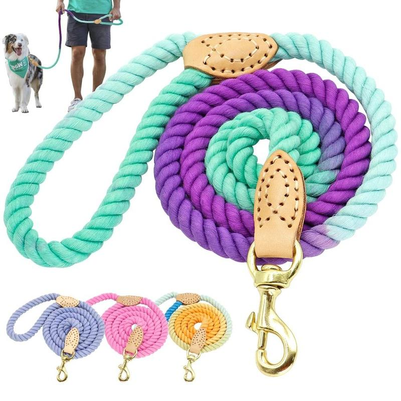 Colourful Round Cotton Rope Dog Leash-Dog Leashes-Multicolor-32558931-rose-150cm-Paws and Whiskers