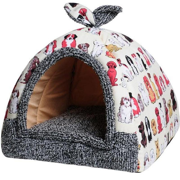 Cozy Cat Igloo Made From Cotton In a Range Of Cute Prints-Cat Houses-Beige - Dog Faces-S = 30 x 30 x 35 cm-29989182-beige-dog-30cmx30cmx35cm-china-Paws and Whiskers