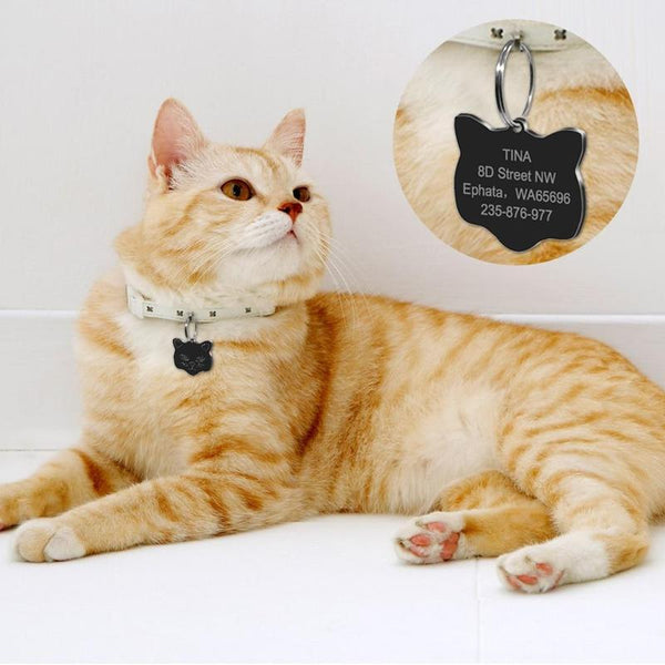 Customized Pet ID Tags for Cats with Free Bell and Engraving-Cat ID Tags-Cat Face Black-23094211-zmdp028bl-s-Paws and Whiskers