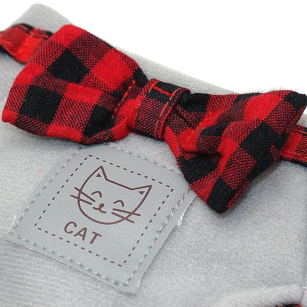Cute Little Cat Harness With Tartan Bow Tie And Leash-Cat Harnesses-Gray-L-13356339-light-grey-l-Paws and Whiskers