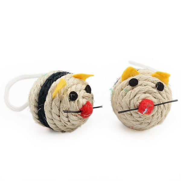 Cute Pair of Mouse Style Cat Balls Made from Sisal-Cat Balls & Chasers-34935066-as-picture-Paws and Whiskers