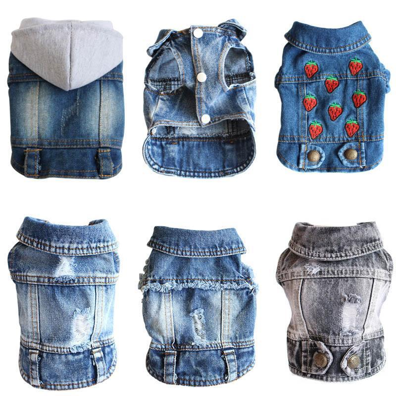 Denim Dog Jacket for Small Puppies-Dog Sweaters & Coats-Blue Denim Wash-XS-32466423-a-xs-Paws and Whiskers