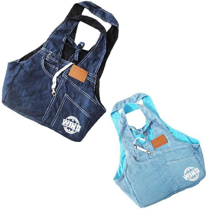 Denim Sling Dog Backpack for Small Dogs-Dog Backpacks-Blue-805651-blue-m-Paws and Whiskers
