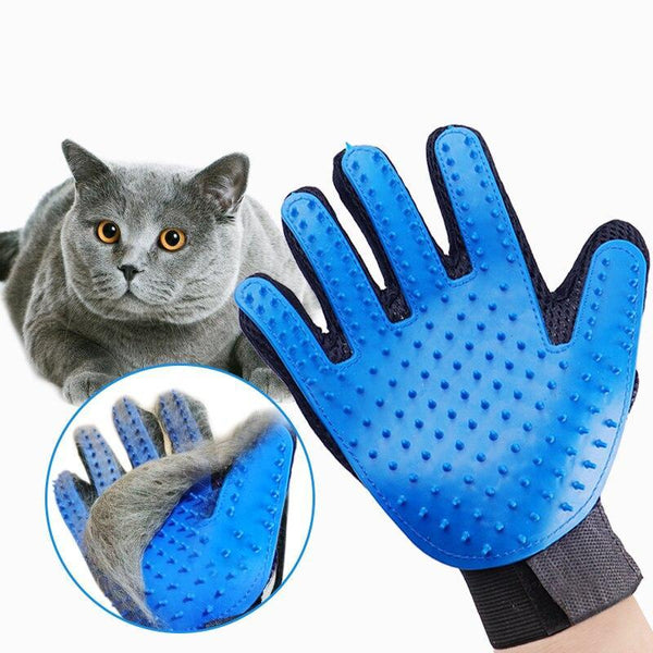Deshedding Cat Brush Glove for Long and Short Hair Pets-Cat Brushes, Combs & Blowdryers-Blue-Left Hand-7984283-left-hand-sky-blue-s-Paws and Whiskers