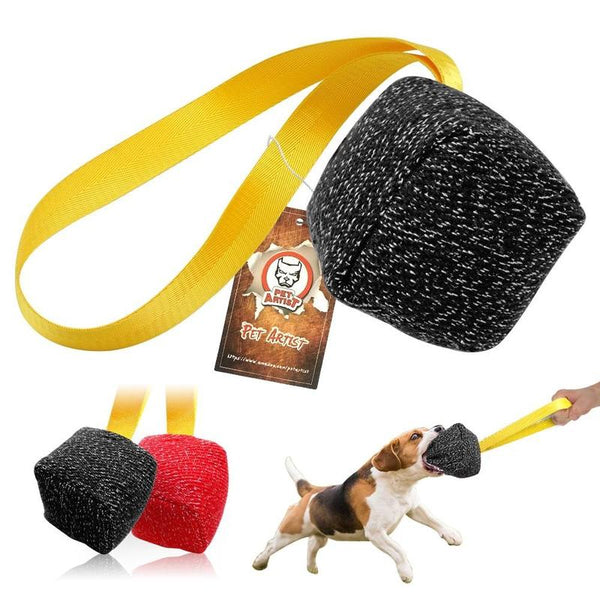 Dice-Shaped Dog Bite Tugs Toy with Strap for Dog Training-Dog Rope Toys-Black-18806382-m-black-Paws and Whiskers