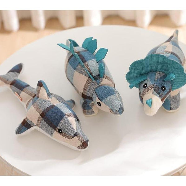Dinosaurs & Dolphin Shaped Plush Dog Toys for Chewing-Dog Plush Toys-Dolphin-Blue-15266580-blue-3-as-picture-Paws and Whiskers