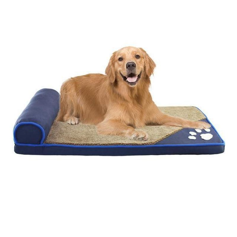 Dog Bed with Head Rest for Large-Sized Dogs-Dog Beds-Blue-S = 60 x 35 x 5 cm-16356481-blue-s-Paws and Whiskers