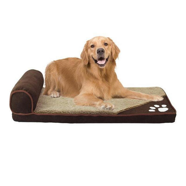 Dog Bed with Head Rest for Large-Sized Dogs-Dog Beds-Brown-S = 60 x 35 x 5 cm-16356481-brown-s-Paws and Whiskers
